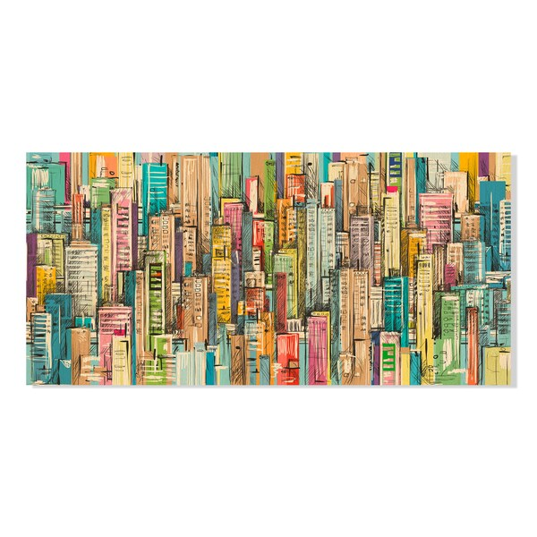Cityscape. Hand drawn vector Print on Birchwood Wall Art