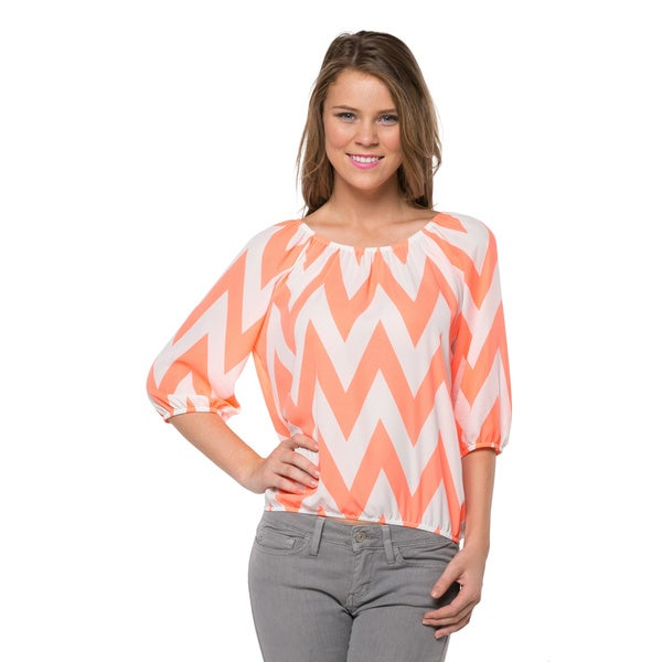 Juniors Bold Chevron Three-Quarter Sleeve Top
