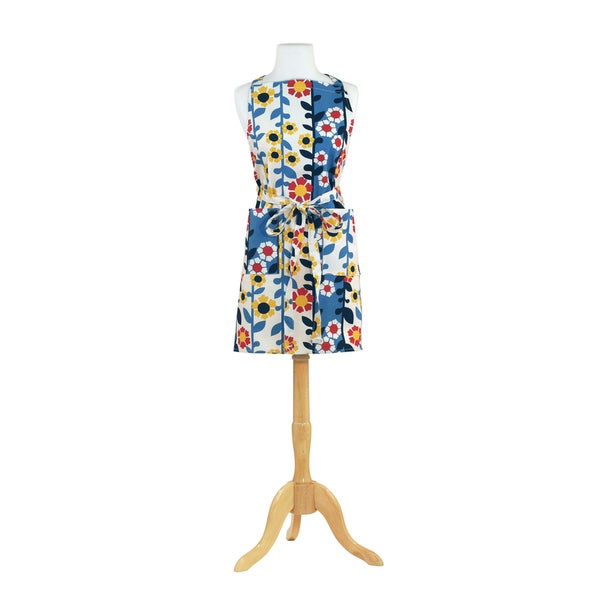 Trellis Blue Butcher Kitchen Apron