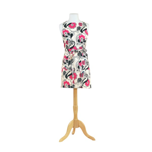 Flower Power Black Butcher Kitchen Apron