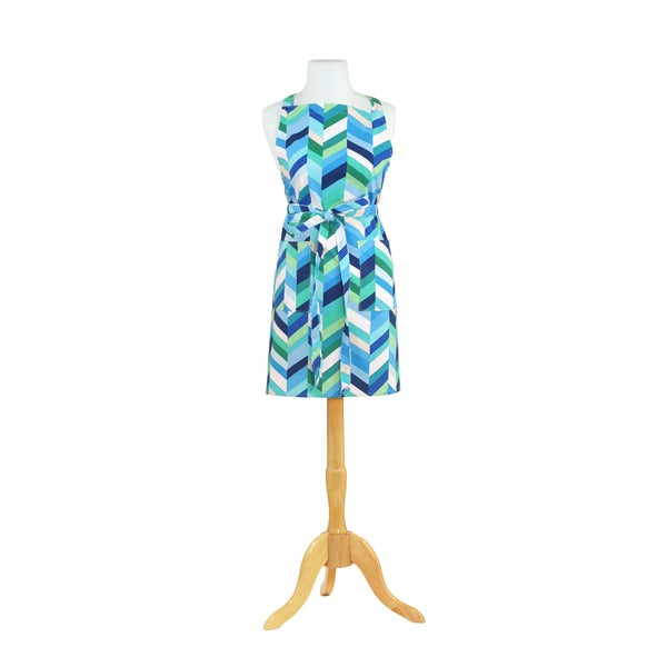 Chevron Stripe Blue Butcher Kitchen Apron