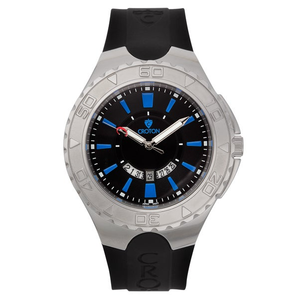 Croton Men's 'Super C' Quartz Watch with Black Dial and Blue Markers and Silicon Strap