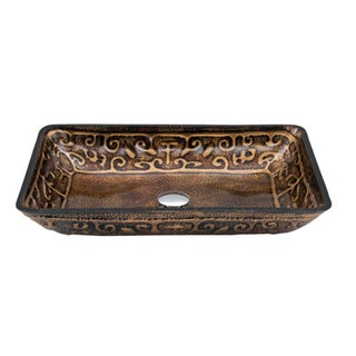 Dawn Tempered Glass Hand-painted Glass Vessel Sink Retangular Shape Bronze