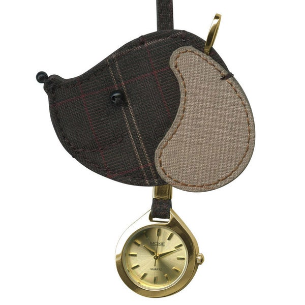 Dakota Women's Moxie Dark Plaid Dog Hanging Purse Charm Clock