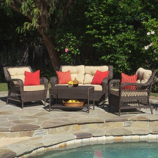Christopher Knight Home Palermo Outdoor 4-piece Wicker Set with Tufted Cushions