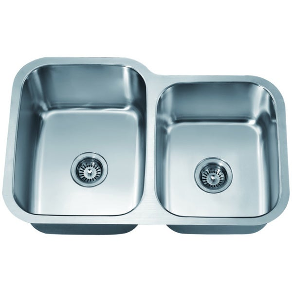 Dawn Stainless Steel Undermount Double Bowl Sink (Small Bowl on Right)