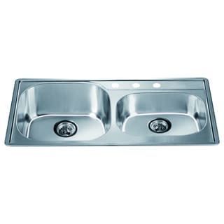 Dawn Top Mount Double Bowl Sink with 3 Holes