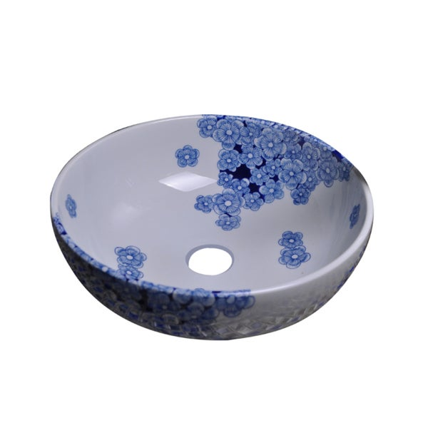 Dawn Ceramic Hand-painted Vessel Sink Round Shape Blue and White