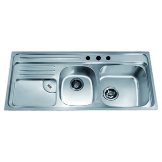Dawn Top Mount Double Bowl Sink with Integral Drain Board and 3 Holes (large Bowl On Right)