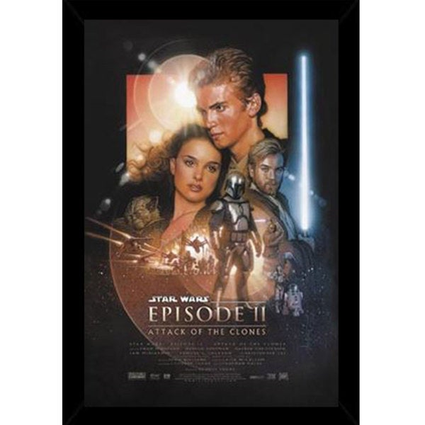 Star Wars Episode 2 Print (22-inch x 34-inch) with Traditional Black Frame
