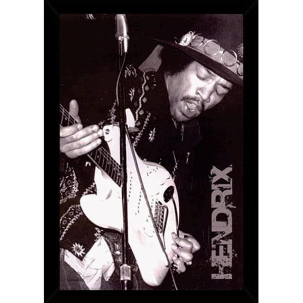 Jimi Hendrix Black and White Print (24-inch x 36-inch) with Traditional Black Frame