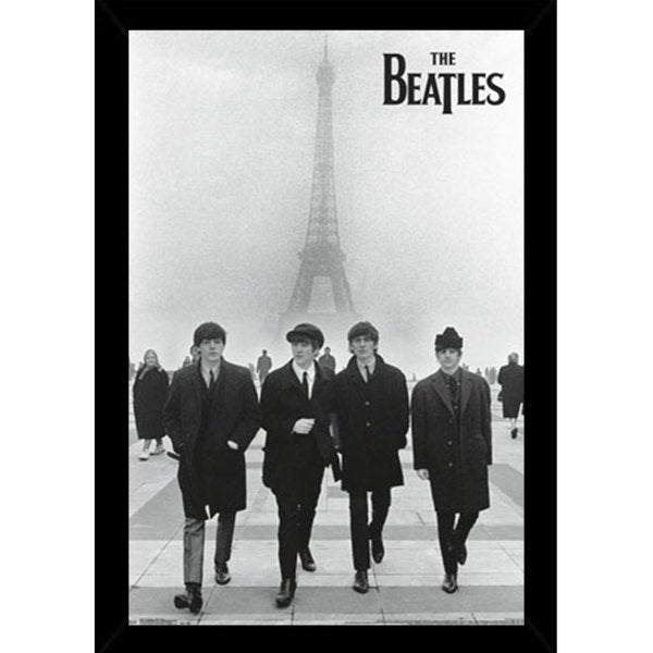 The Beatles Eiffel Tower Print (22-inch x 34-inch) with Traditional Black Frame