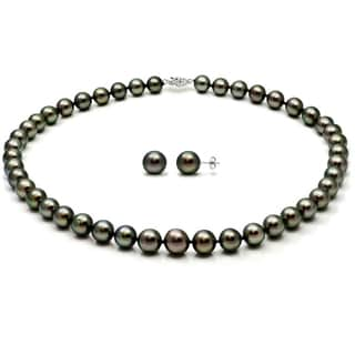 DaVonna 14k White Gold Black Tahitian Pearl Necklace Earring Jewelry Set