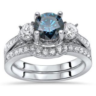 Noori 14k White Gold 1 1/2ct TDW Blue Three Stone Diamond Engagement Ring Set (G-H, SI1-SI2)