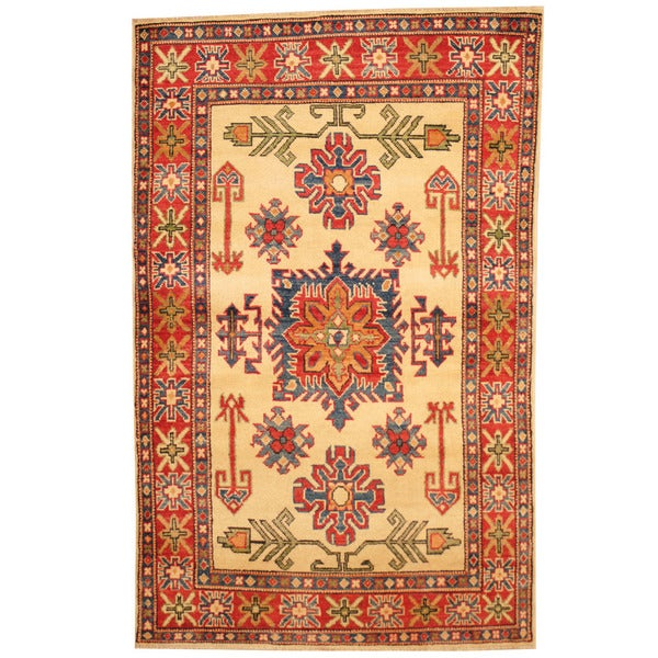 Herat Oriental Afghan Hand-knotted Tribal Kazak Wool Rug (3'2 x 5'1) - 3'2 x 5'1 16521804