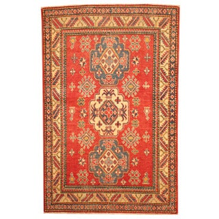Herat Oriental Afghan Hand-knotted Tribal Kazak Red/ Ivory Wool Rug (3'7 x 5'6)
