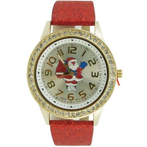 Women's Christmas Watch with Easy Read Santa Claus Crystal Bezel Dial, and Red Glitter Faux Leather Band 16521825