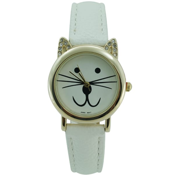 Women's Cat Watch CZ Ears Faux Leather Band