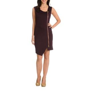 Nina Leonard Women's Asymmetrical Neckline Dress
