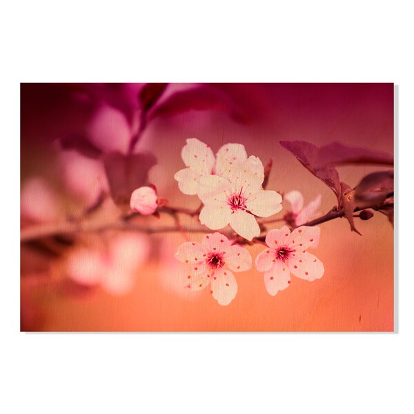White Flowers on Blurred Abstract Background Print on Birchwood Wall Art