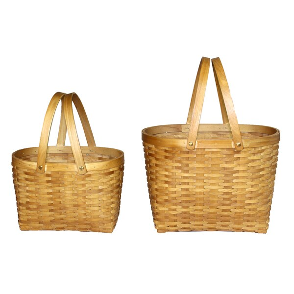 Oval Woodchip Shopping Baskets (Set of 2)