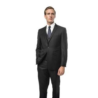 Verno Civello Men's Black Pinstripe Classic Fit Three-Piece Suit