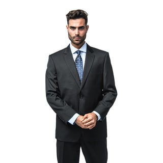 Verno Barella Men's Black Pinstripe Classic Fit Italian Styled Two-Piece Suit