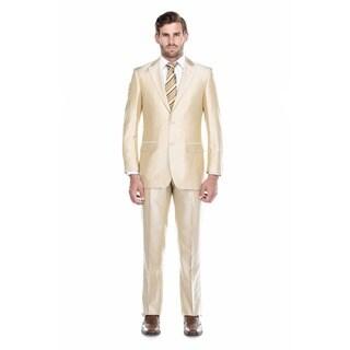 Verno Baldino Men's Beige Sharkskin Classic Fit Two-Piece Suit