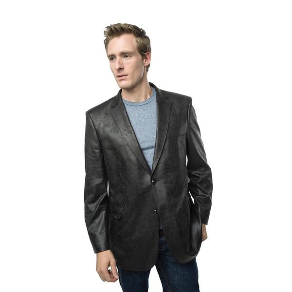 Verno Bellante Men's Black Faux Leather Classic Fit Sports Coat 16522335