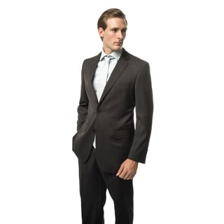 Verno Cirino Men's Black and Grey Textured Classic Fit Two-Piece Suit