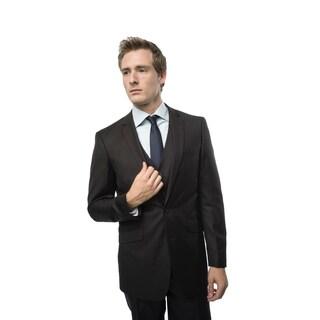 Verno Civello Men's Dark Brown Pinstripe Slim Fit 3-piece Suit