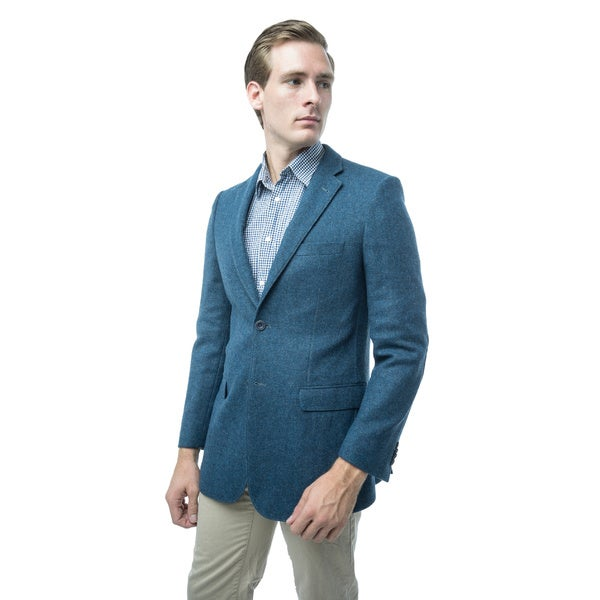 Verno Giraldi Men's Blue Classic Fit Wool Blazer