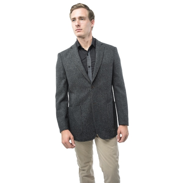 Verno Giraldi Men's Grey and Black Herringbone Classic Fit Wool Blazer