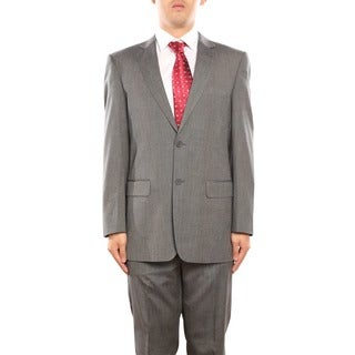 Verno Alberico Men's Grey and Black Textured Classic Fit Two Piece Suit