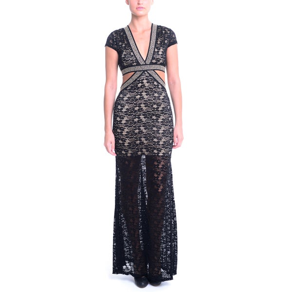 Sentimental NY Lace Embellished Stretch Band V-Neck Cut-out Maxi Dress