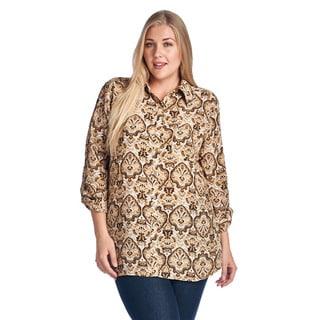 Women's Plus Size Brown Print Button-Up Shirt