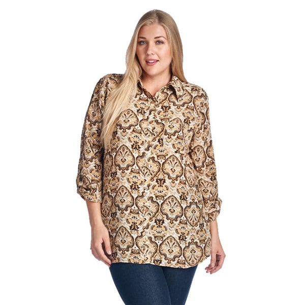 Women's Plus Size Brown Print Button-Up Shirt