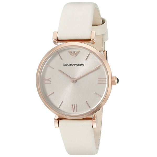 Emporio Armani Women's AR1769 'Gianni' White Leather Watch