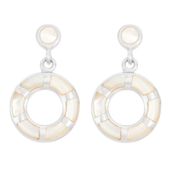 La Preciosa Sterling Silver Mother of Pearl Double Circle Dangle Earrings 16524819