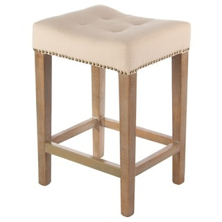 Beige Nailhead 24-Inch Counter Stool