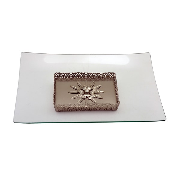 Glass Rectangle Platter on Metallic Base