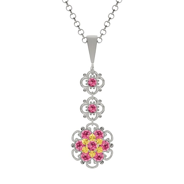 Lucia Costin Silver Pink Swarovski Crystal Pendant