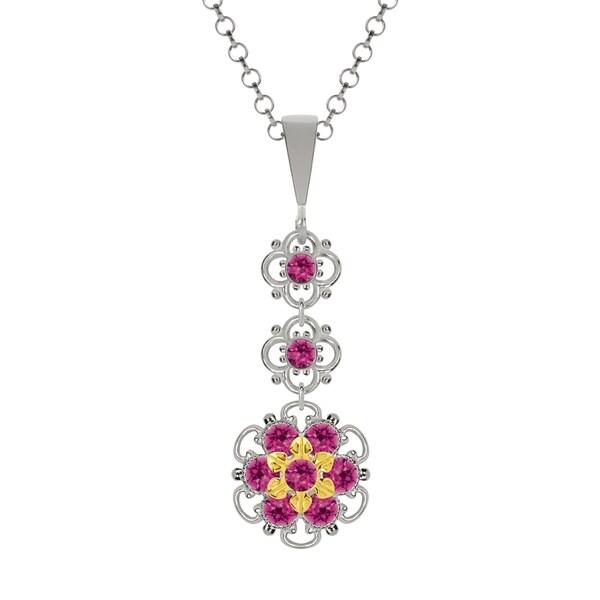 Lucia Costin Silver Fuchsia Swarovski Crystal Pendant