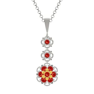 Lucia Costin Silver Red Austrian Crystal Pendant