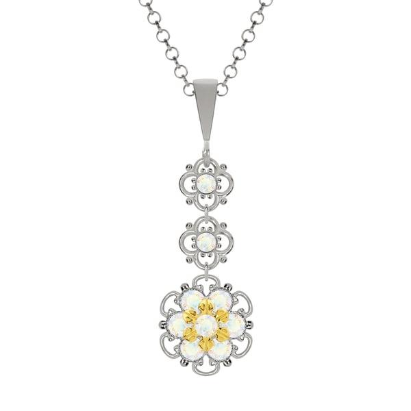 Lucia Costin Silver White Swarovski Crystal Pendant