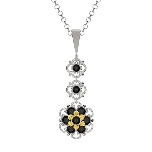 Lucia Costin Silver Black Swarovski Crystal Pendant