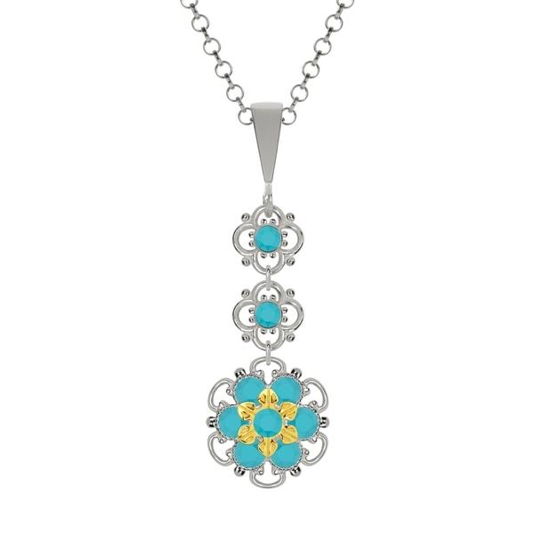 Lucia Costin Silver Turquoise Swarovski Crystal Pendant