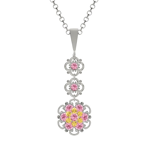 Lucia Costin Silver Light Pink Swarovski Crystal Pendant