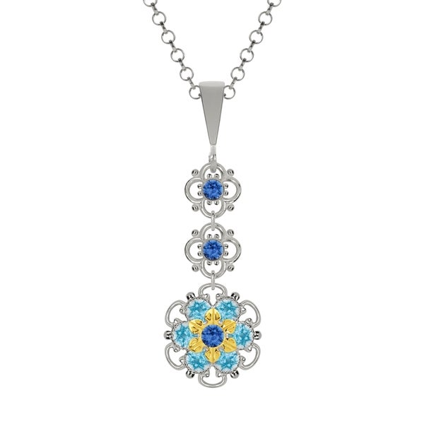 Lucia Costin Silver Blue Light Blue Crystal Pendant 16525594