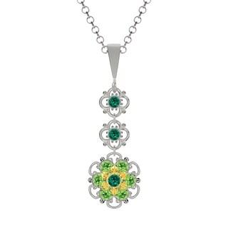 Lucia Costin Silver Dark Green Light Green Crystal Pendant